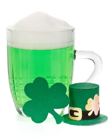 Mug of Green beer, shamrock and Leprechaun hat for St Patrick's Day Stock Photo - 4402699