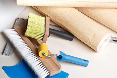 renovation de maison: Nature morte de divers outils de tapisserie. Accueil r�novation.
