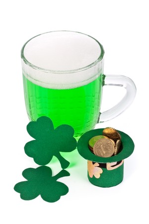 Mug of Green beer, shamrock and Leprechaun hat with coins for St Patrick's Day Stock Photo - 4453512