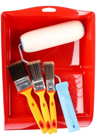 Various painting tools on a white background Stock Photo - 4453536