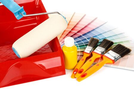 Various painting tools and color guide on a white background Stock Photo - 4453535
