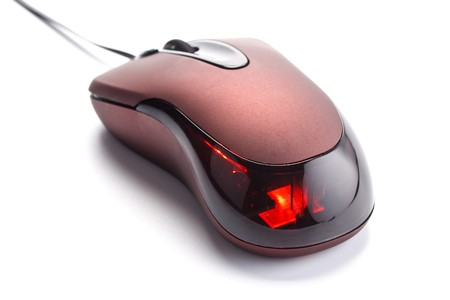 Modern computer mouse on a white background photo