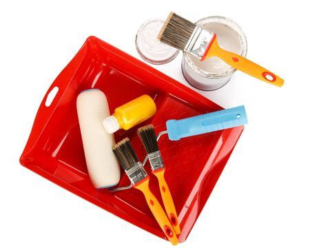 Various painting tools on a white background Stock Photo - 4472719
