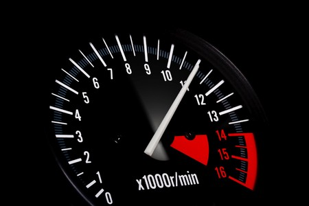 transducer: Dashboard of a sports motorbike. Tachemeter close up. Stock Photo