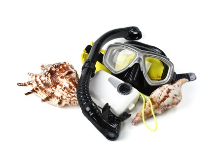 Equipment for a scuba diving and snorkeling on a white background Stock fotó