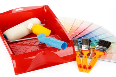 Various painting tools and color guide on a white background Stock Photo - 4507448