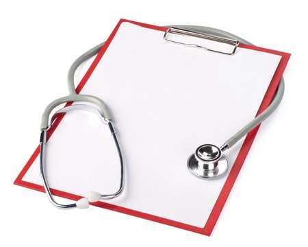 Medical clipboard with blank paper for messages and a stethoscope Stock Photo - 4524314