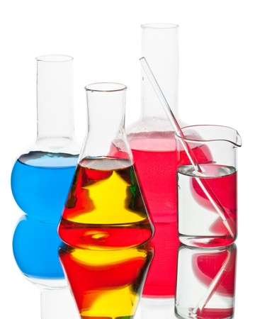 Various colorful flasks on a white background Stock Photo - 4524357