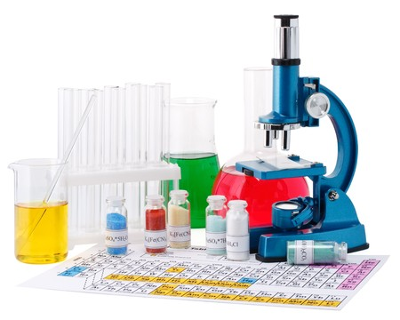 reagents: Laboratory ware, microscope and reagents on a white background