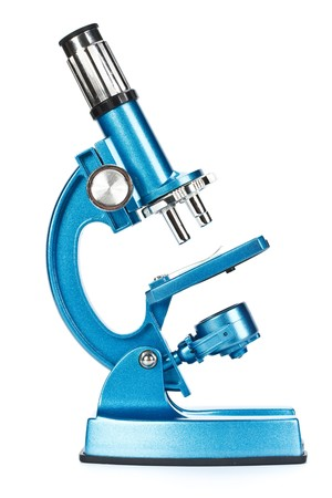Close up of a blue microscope on a white background