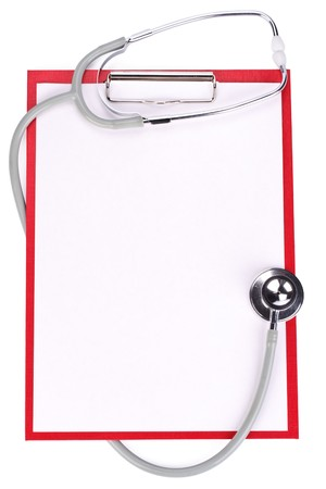 Medical clipboard with blank paper for messages and a stethoscope Stock Photo
