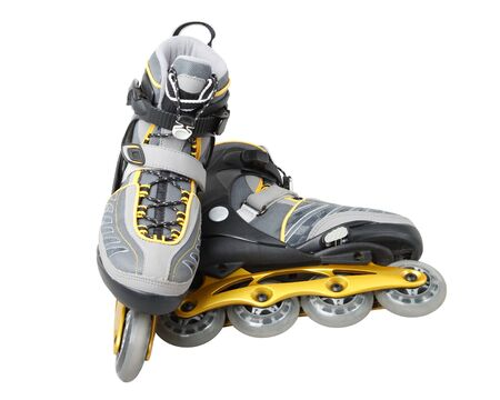 Inline skates on a white background. Close up photo