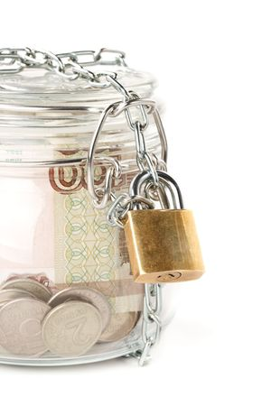 Money in a pot. Home banking concept. photo