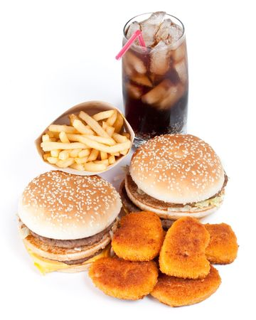 Hamburger, french fries, chicken nuggets and cola on a white background Stock Photo - 4648517