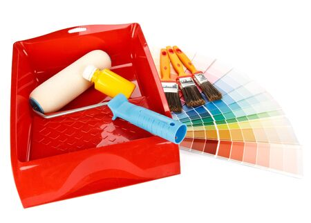 Various painting tools and color guide on a white background Stock Photo - 4654722