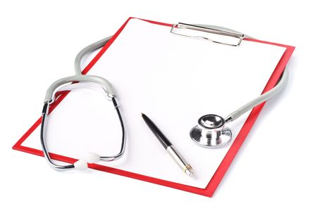 Medical clipboard with blank paper for messages and a stethoscope Stock Photo - 4770201