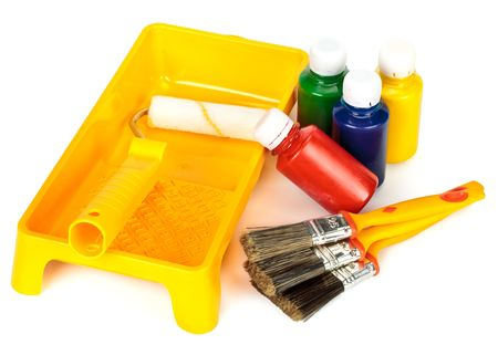 Various painting tools on a white background Stock Photo - 4837677
