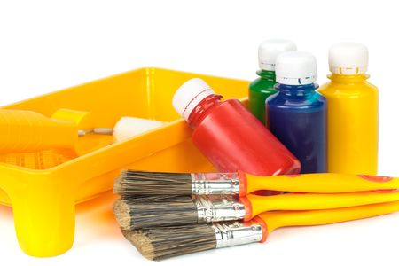 Various painting tools on a white background photo