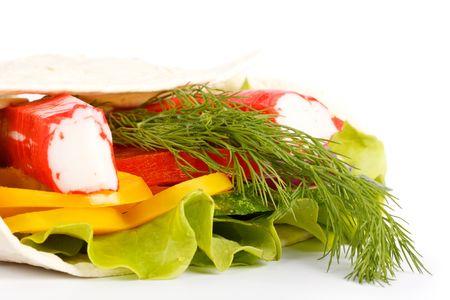 crabmeat: Sandwich with crabmeat sticks on a white background