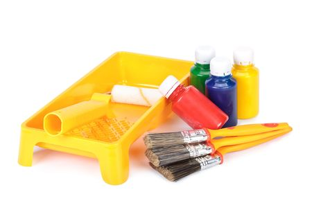 Various painting tools on a white background Stock Photo - 4897981