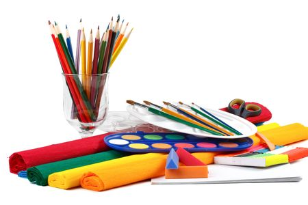 Water colour paints, pencils and brushes on a white background Stock Photo - 5008019