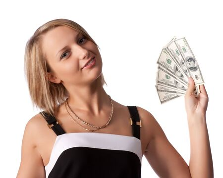 Pretty woman with money on a white background photo