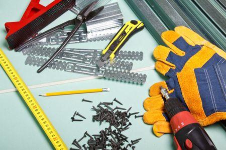 Plasterboard and various building tools.  Apartment repair. Stock Photo - 5200776