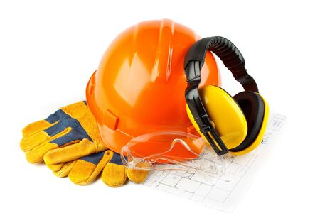 protecting spectacles: Orange hard hat, earphones, goggles and gloves on a white background