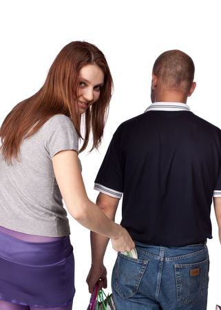 The girl pulls out money from a pocket of the man photo