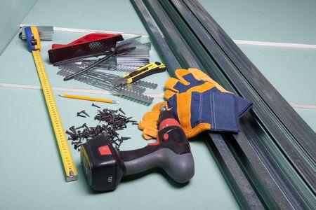 plasterboard: Plasterboard and various building tools.  Apartment repair.