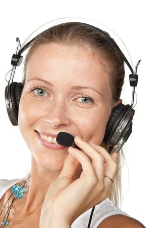 Business woman with headset on a white background Stock Photo - 5413467