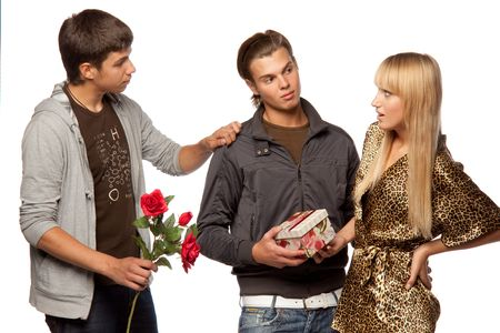 unexpectedness: Young  men find out among themselves relations because of the girl. Double appointment. Stock Photo