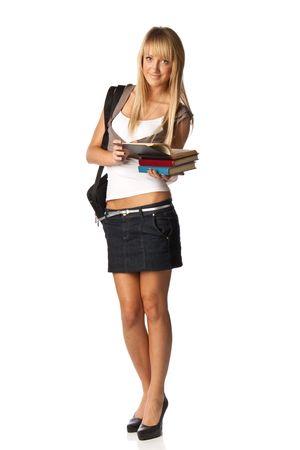 mini falda: El estudiante se encuentra con libros atractivos y una bolsa sobre un fondo blanco. El estudiante.