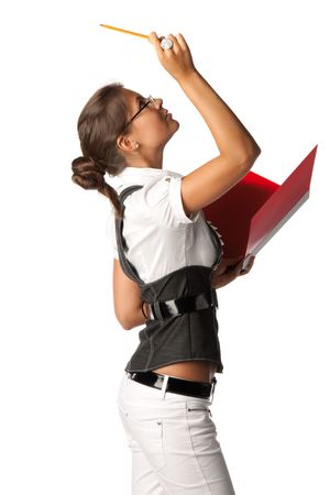 The young successful business woman with folders for documents in hands on a white background. photo