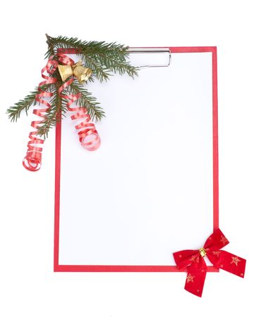 Clipboard with blank paper for messages and Christmas ornaments on a white background Stock Photo - 5700841