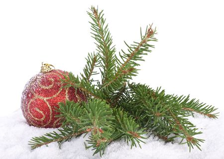 dangling: Christmas toy and fir-tree branch on a snow over white background