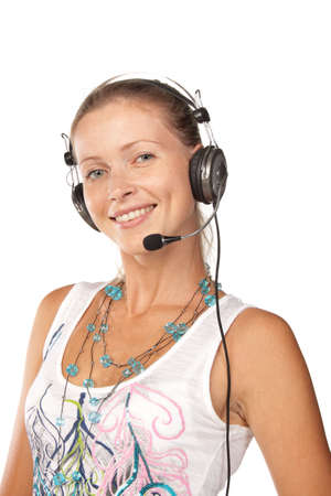 Business woman with headset on a white background Stock Photo - 5707535