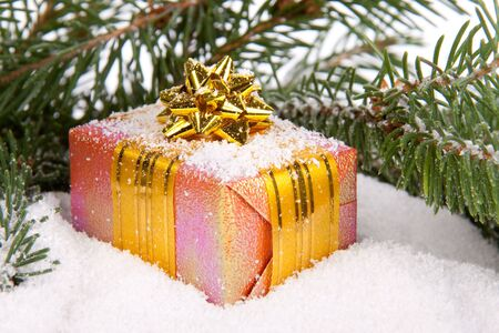 Gifts under a Christmas tree on snow on a white background. photo