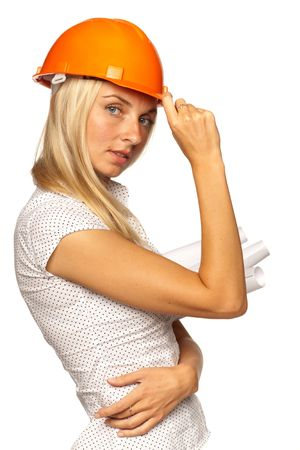 Young smiling female architect in a hard hat  on a white background photo