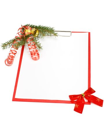 Clipboard with blank paper for messages and Christmas ornaments on a white background Stock Photo - 5880289
