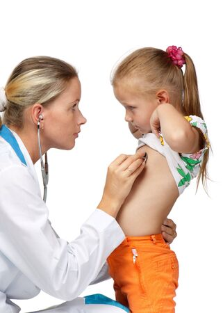 Female  doctor examining a little child on a white background. Stock Photo - 5942422