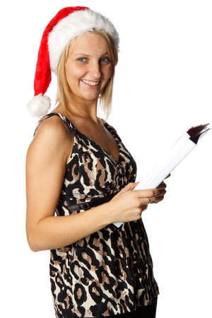 Businesswoman in red Santas cap with folders on a white background photo
