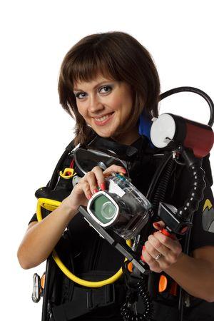 aqualung: Bella donna scuba diver con fotocamere su uno sfondo bianco. Archivio Fotografico