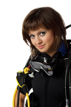 Beautiful woman scuba diver on a white background. Stock Photo - 6039007