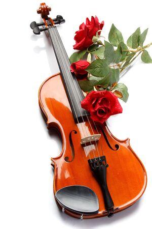 violines: El violín y la Rosa yacen en notas musicales.  Foto de archivo
