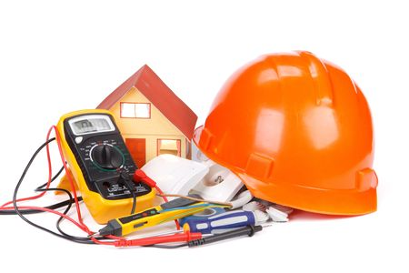 electrical materials: Electric equipment for apartment repair on a white background