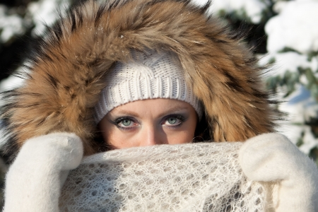downy: Portrait of the beautiful girl with a downy  shawl  in winter park. Stock Photo
