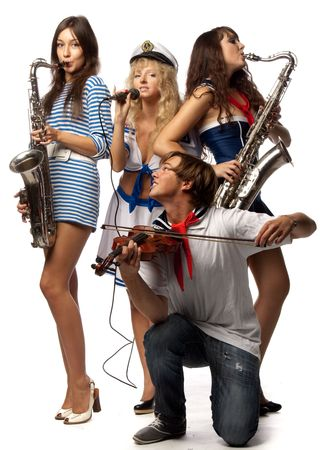 sax: Trendy group of young people with musical instruments on a white background Stock Photo