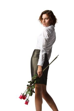 The beautiful girl with a bouquet of roses on a white background. Stock Photo - 6381811