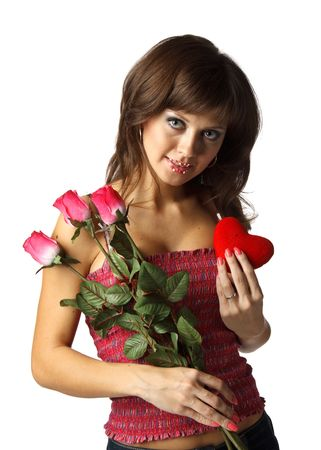 The beautiful girl with red heart and roses on a white background. photo